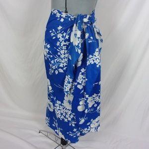 Hilo Hattie Cover Up Shawl Skirt Blue Hawaiian